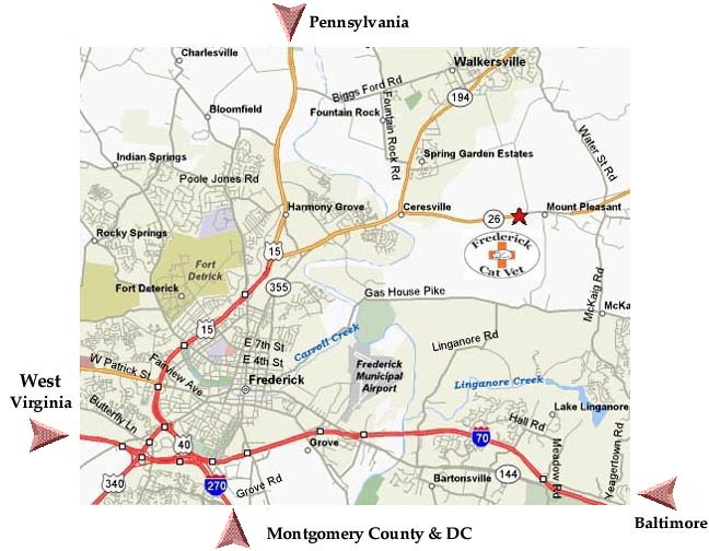 Directions To Frederick Cat Vet Of Frederick Maryland