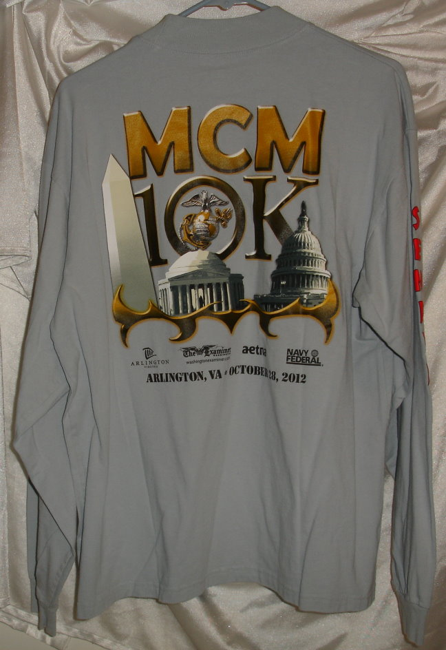 Usmc marine corps marathon 10k gray long sleeve t shirt for Marine corps marathon shirt 2017