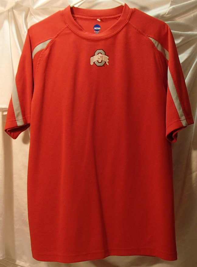 Ohio state university buckeyes red short sleeve polyester for Ohio state shirts mens