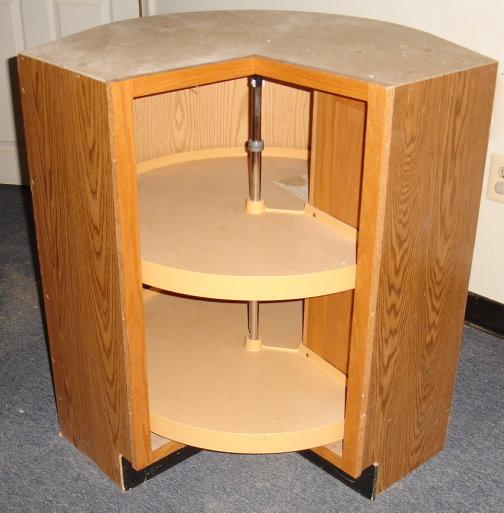 Oak Corner Turnstile Rotating Kidney Lazy Susan Round Base ...