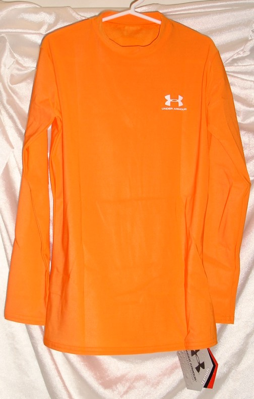 under armour heat gear long sleeve orange shirt youth l ebay